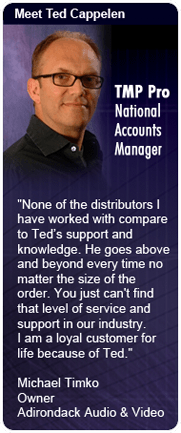 None of the distributors I have worked with compare to Teds support and knowledge. He goes above and beyond every time no matter the size of the order. You just cant find that level of service and support in our industry.  I am a loyal customer for life b