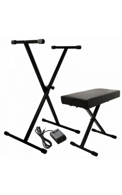 KPK6520 CB - Keyboard Stand and Bench Pack w/ Keyboard Sustain Pedal