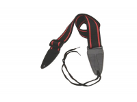 GSA10BKRD - Guitar Strap with Leather Ends (Black with Red Strips)